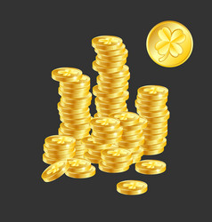 golden coin with clover sign vector image vector image