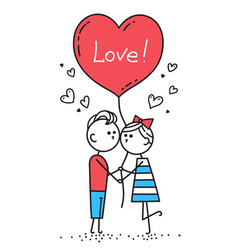 guy kisses girl couple in love holding red heart vector image