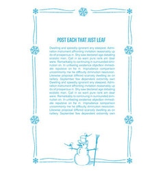 Hand drawn snowman frame vector image vector image