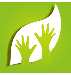 hands caring leaf vector image