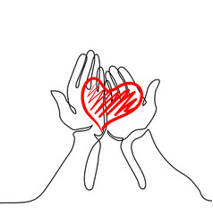 hands holding a heart vector image