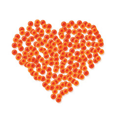 Heart made of red caviar vector