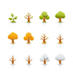 icon set tree four seasons vector image vector image