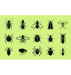 Insects icon set pest control vector