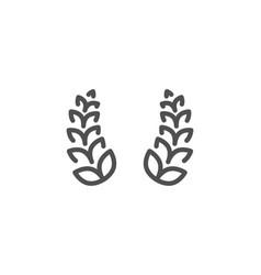 Laurel wreath line icon reward sign vector