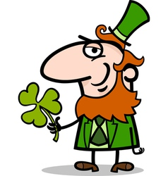 Leprechaun with clover cartoon vector image