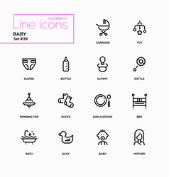 Maternity concept - line design icons set vector