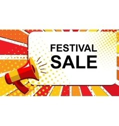 Megaphone with festival sale announcement flat vector