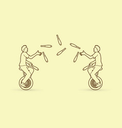 men juggling pins while cycling together vector image vector image