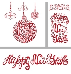 New year cardsLettering typography elements vector image vector image