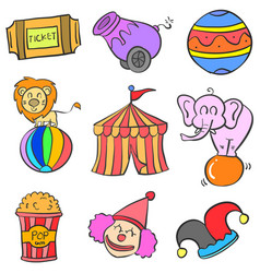 Object set circus doodle style vector