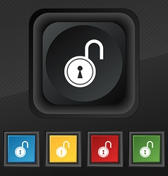 Open lock icon symbol set of five colorful stylish vector
