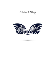 P letter sign and angel wings monogram wing logo vector