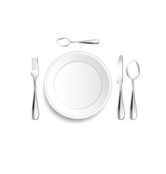 Plate and cutlery setting in silver vector