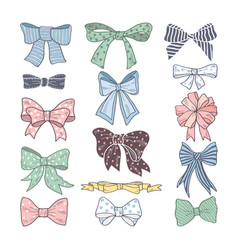 retro bows beauty kit of woman accessories vector image