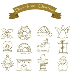 Style christmas icons set vector