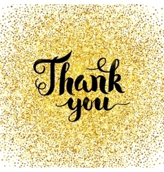Thank you gold greeting card vector