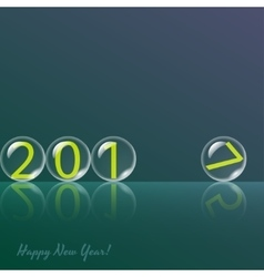 Transparent glass balls on green background vector image