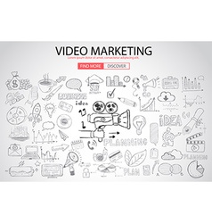 Video Marketing concept with Doodle design style vector image