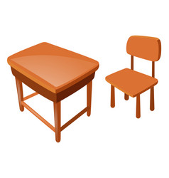 wooden chair and table on white vector image