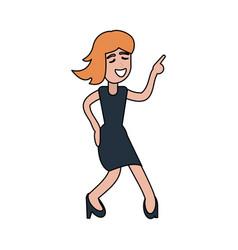 young woman happy dancing cartoon vector image vector image
