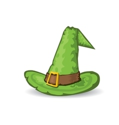 Green tall witch hat vector