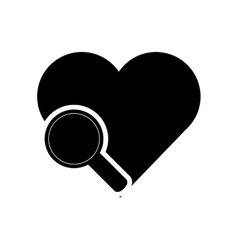 Heart cartoon and magnifying glass icon vector