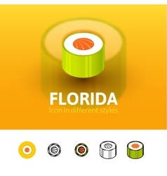 Florida icon in different style vector
