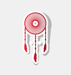 Dream catcher sign  new year reddish icon vector