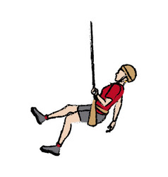 Man figure hanging climber with rope vector