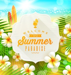Banner with summer greeting and frangipani flowers vector image