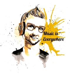 Man ink hipster music vector