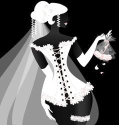 black-white bride vector image