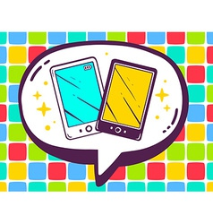 Speech bubble with icon of phones on colo vector