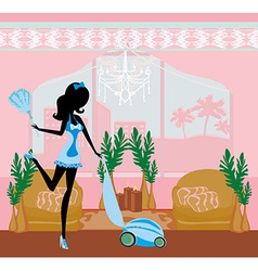 Sexy pinup style french maid cleans the room vector