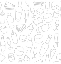 Food thin line icon seamless pattern vector image