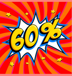 60 off sixty percent 60 off sale on red twisted vector image vector image