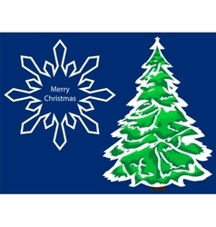Merry christmas snowflake green spruce vector