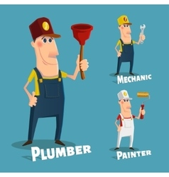 Hand drawn plumberpainter and mechanic characters vector image
