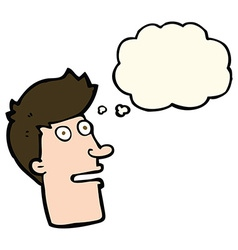 Cartoon shocked male face with thought bubble vector