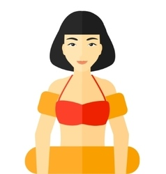Woman with swimming equipment vector