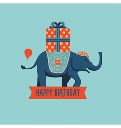 Elephant with a big present vector