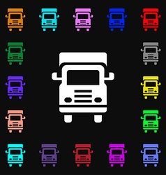 Transport truck icon sign lots of colorful symbols vector
