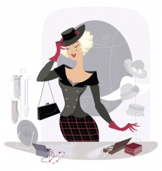 Lady in vintage accessory shop vector