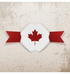 Canada red maple leaf on realistic badge vector