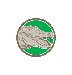 Alligator Head Snout Circle Retro vector image