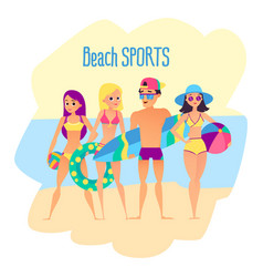 Beach sports four young people on the beach vector