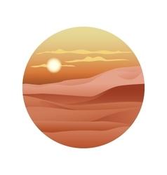 Beautiful sunset over the sand dunes sahara vector