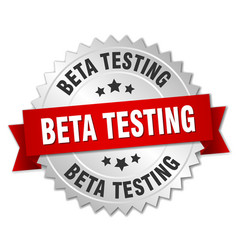 beta testing 3d silver badge with red ribbon vector image vector image