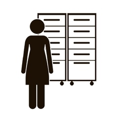 Black silhouette archiver with filling cabinet vector